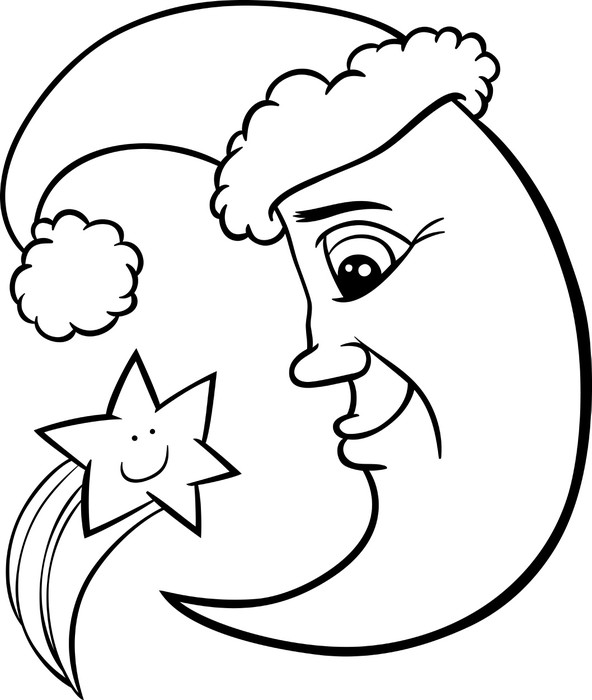 Fototapete Mond und Sterne Weihnachten ausmalbilder • Pixers® - Wir ...