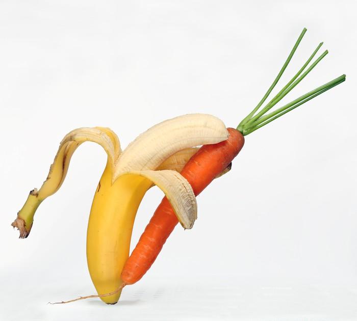 Vinylová Tapeta Banán tanzt mit Karotte - Ovoce