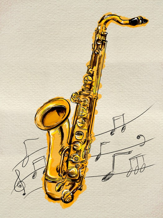 Saxophone Painting Image Wall Mural • Pixers® • We live to change