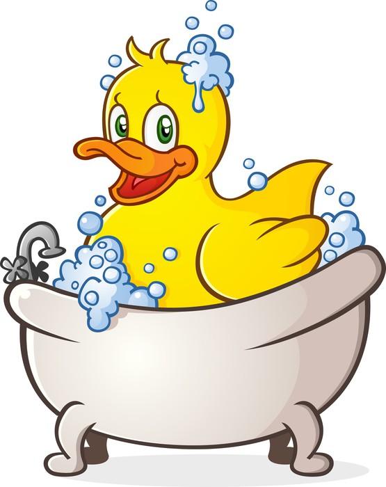 Rubber Duck Bubble Bath Cartoon Character Wall Mural • Pixers® • We ...