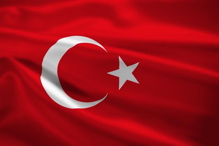 Vinylová Tapeta Turecko vlajka vlající ve větru - Témata