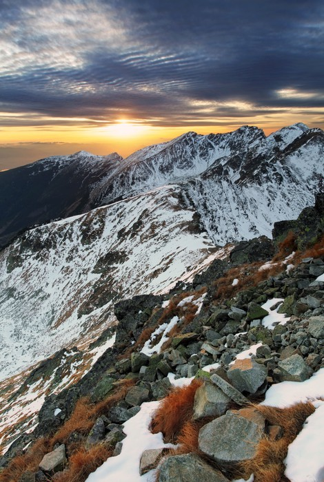 Vinylová Tapeta Majestátní západ slunce v zimě hory krajiny - Témata