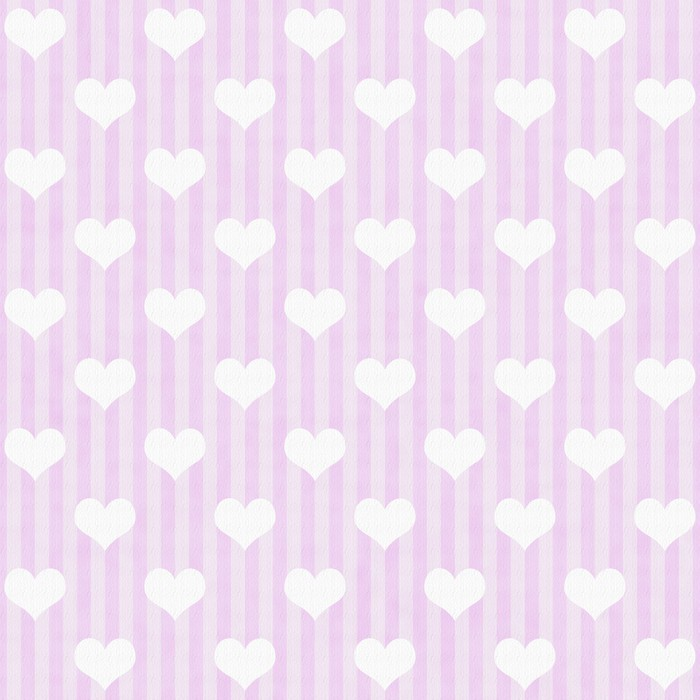 Vinylová Tapeta Růžová a bílá srdce a pruhy Fabric Background - Štěstí
