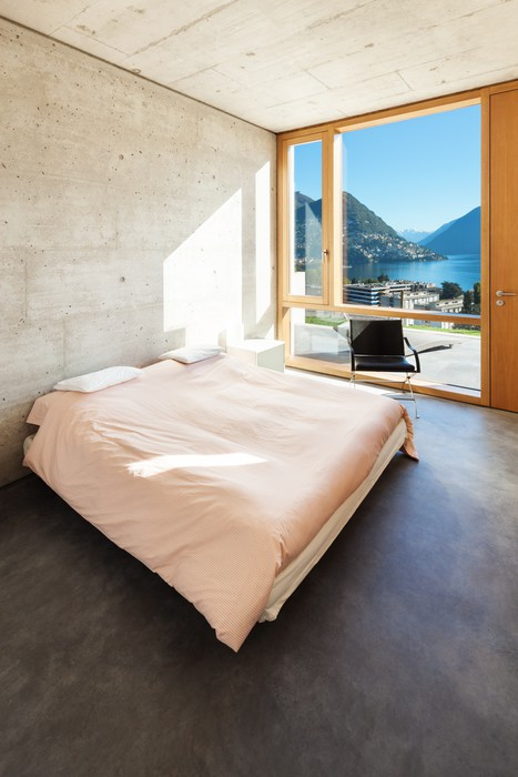 Fotobehang Mooi modern huis in cement, interieurs, slaapkamer ...