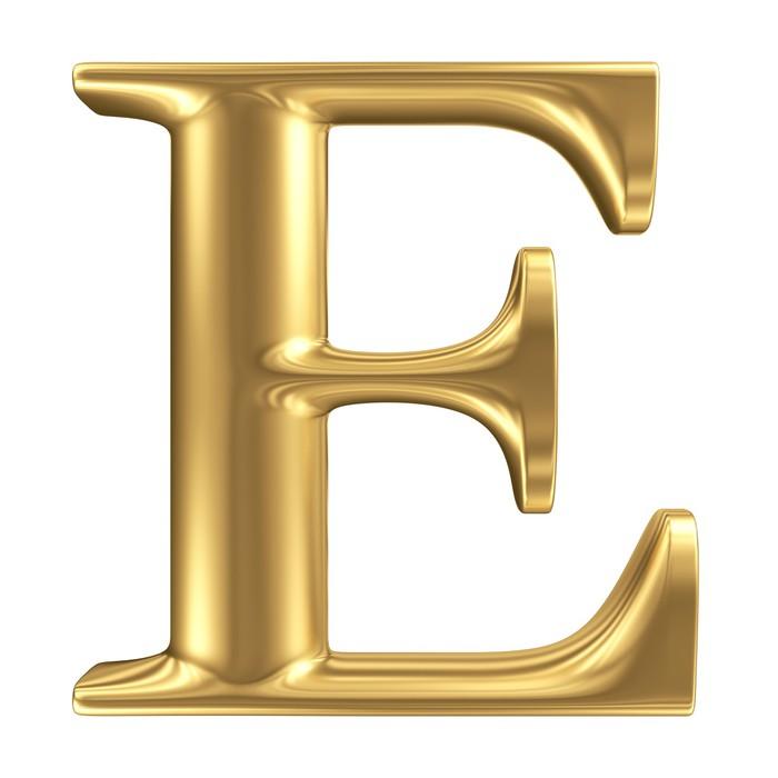 Wandtattoo Goldene Matt Buchstaben E, Schmuck Font Sammlung