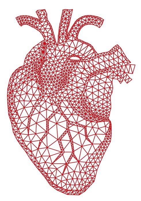 Fototapeta czerwone serce cz owieka z geometryczny wz r siatki wektor pixers yjemy by - Fadenkunst vorlagen ...