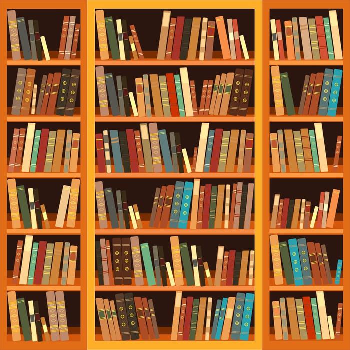sticker grande biblioth que avec des livres diff rents pixers nous vivons pour changer. Black Bedroom Furniture Sets. Home Design Ideas