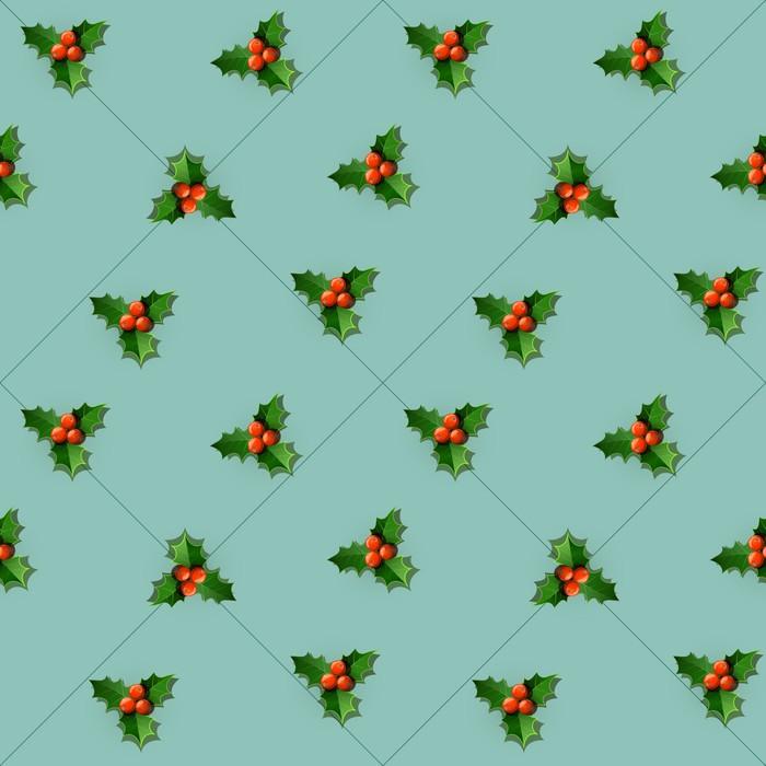 Vinylová Tapeta Holly bobule s listy. Vánoční bezešvé vzor. Vektor - Mezinárodní svátky