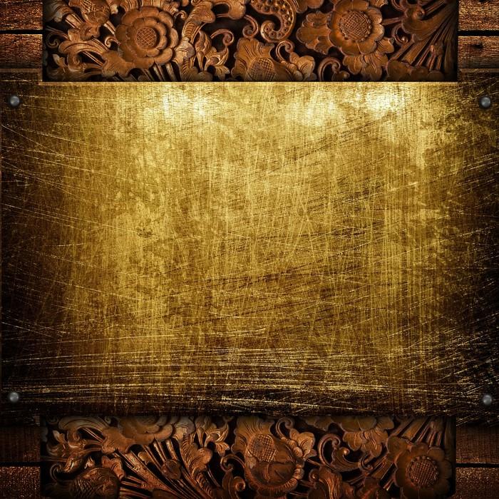 Fototapete Goldene Platte mit Holzrahmen • Pixers® - Wir leben, um ...