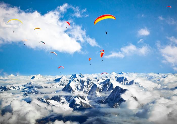 aufkleber gleitschirm fliegen gegen den himalaya region everest nepal pixers wir leben um. Black Bedroom Furniture Sets. Home Design Ideas