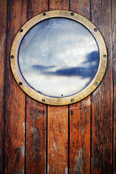 papier peint fen tre navire hublot sur les portes en bois la r flexion du ciel pixers nous. Black Bedroom Furniture Sets. Home Design Ideas