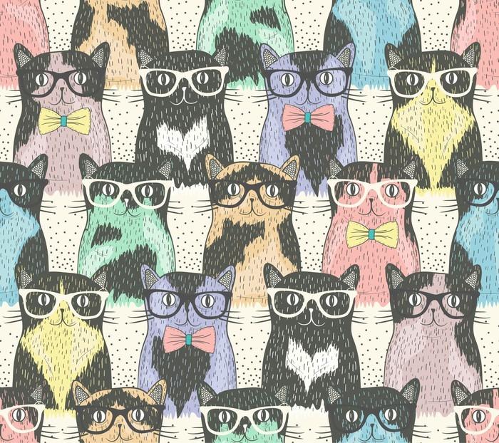 Vinil Duvar Kağıdı Çocuklar için yenilikçi sevimli kedi ile Seamless pattern -