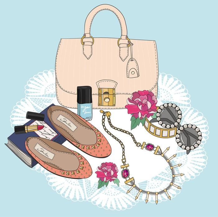 papier peint essentiels de la mode arri re plan avec sac lunettes de soleil chaussures. Black Bedroom Furniture Sets. Home Design Ideas