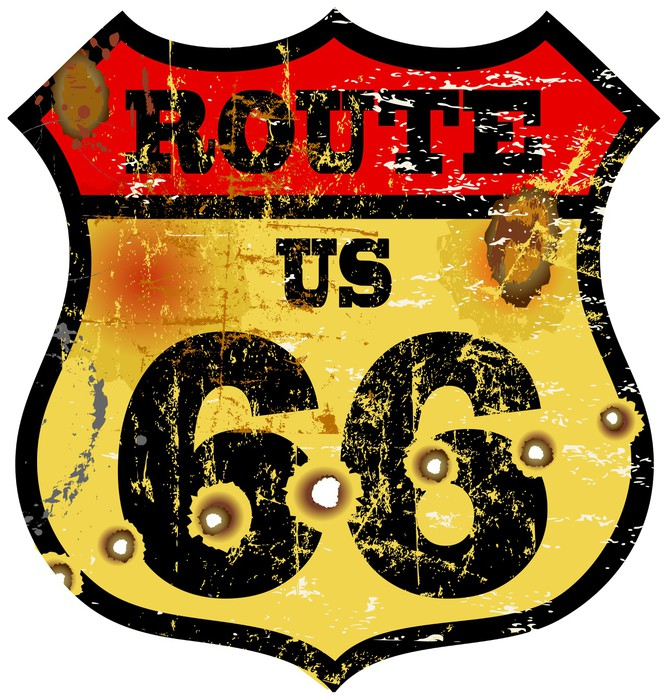 vintage route 66 road sign, bullet holes, vector illustration Wall ...