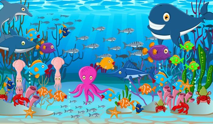 Fotomural Mar De Fondo De Dibujos Animados La Vida