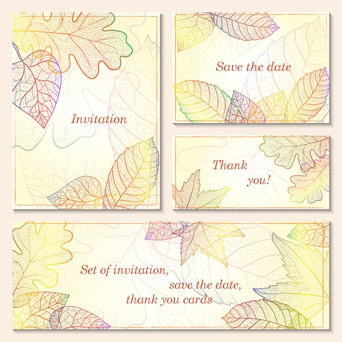 invitation save the date cards with autumn leaves wall mural