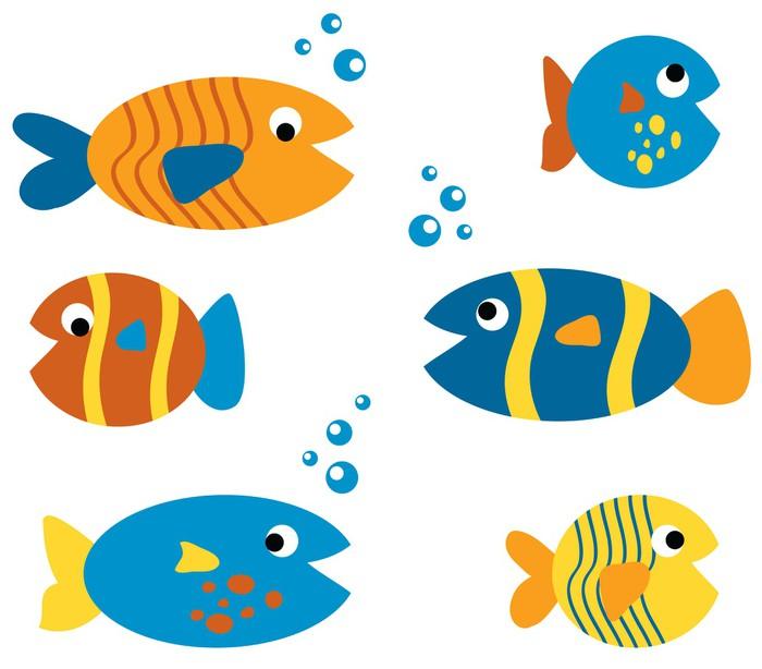 Vinylová Tapeta Cute Fish Set - Vodní a mořský život