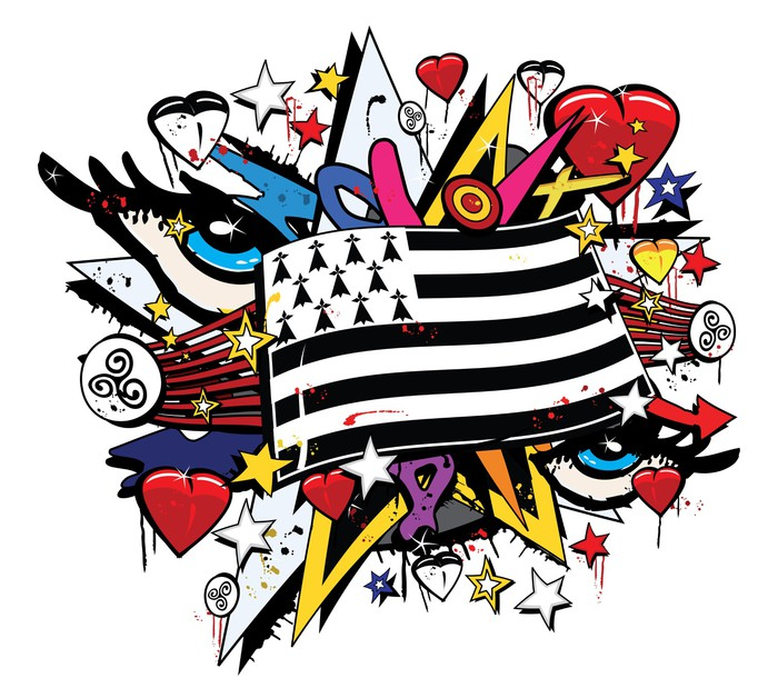 Vinylová Tapeta Drapeau Bretagne Breizh graffiti tag pop art ilustrace - Nálepka na stěny