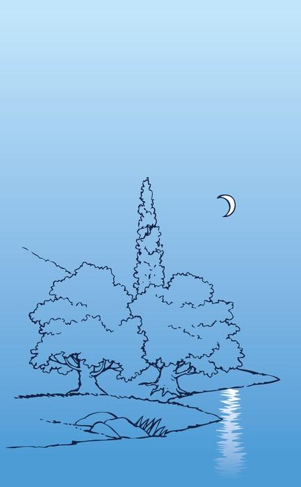 Vinylová Tapeta Vektorové noční krajina. Půlměsíc nad řekou a stromy - Roční období