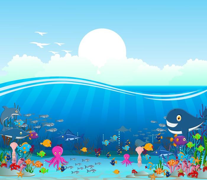 Sea Life Cartoon Background Wall Mural Pixers 174 We Live