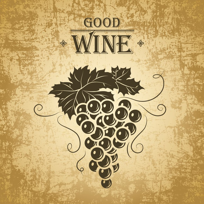 Wine label with grapes on vintage paper Wall Mural • Pixers® • We ...