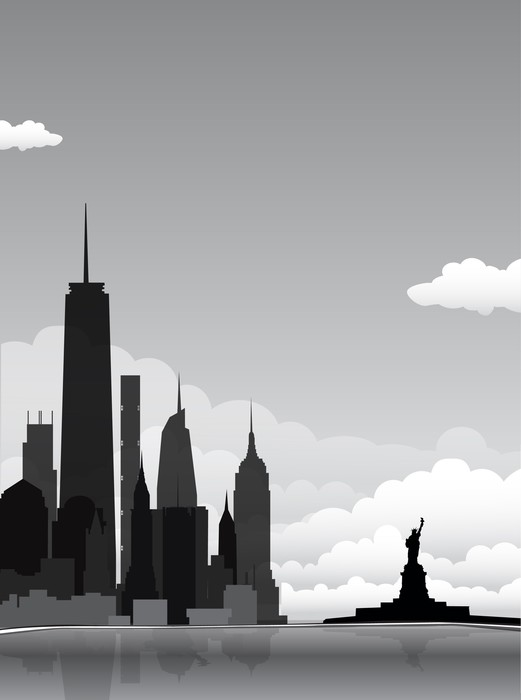 Cuadro en Lienzo Nueva York silueta horizonte de la ciudad • Pixers ...