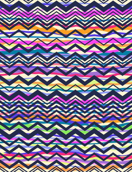 Vinilo pixerstick navy zigzag sobre rayas de colores for Gimnasio zig zag