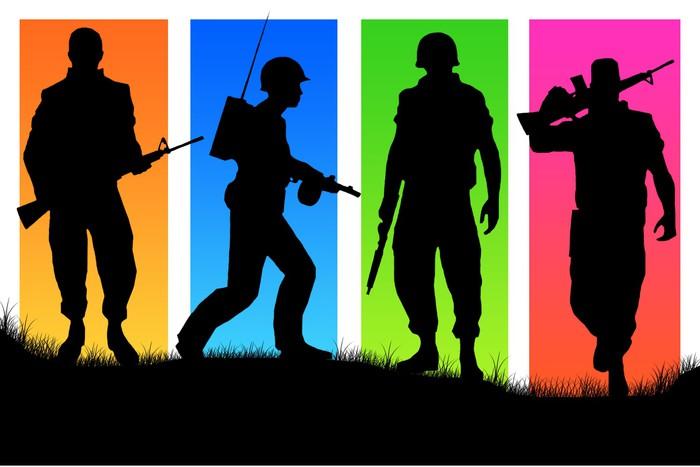 Nálepka Pixerstick Čtyři vojáci na různobarevné zpět pozadí. - Témata
