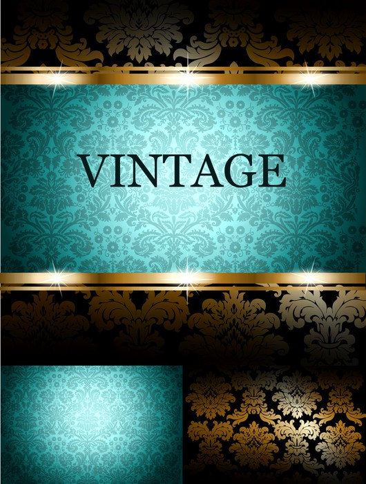 Fototapete t rkis vintage tapete auf einem schwarzen for Tapete orientalisch turkis