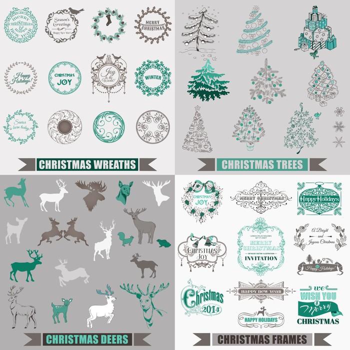 Aufkleber Vector Set: Weihnachten kalligraphische Design-Elemente ...