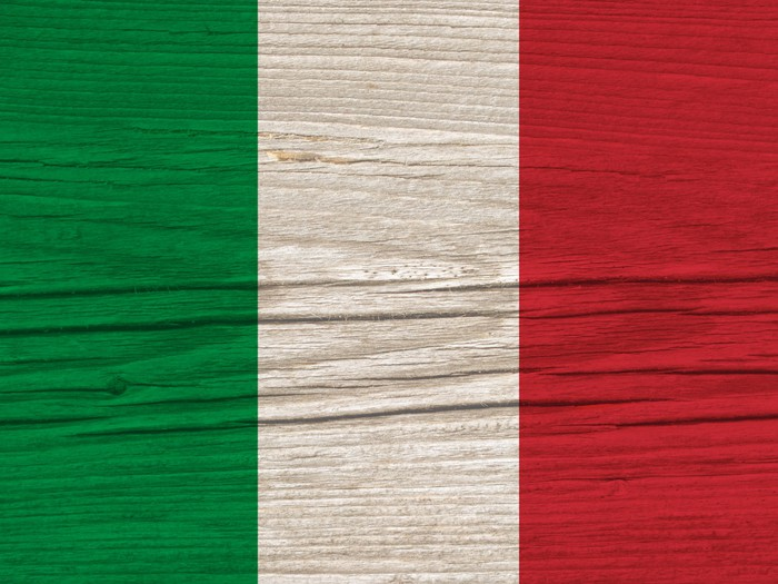 Vinylová Tapeta Italien Flagge Holz - Evropa