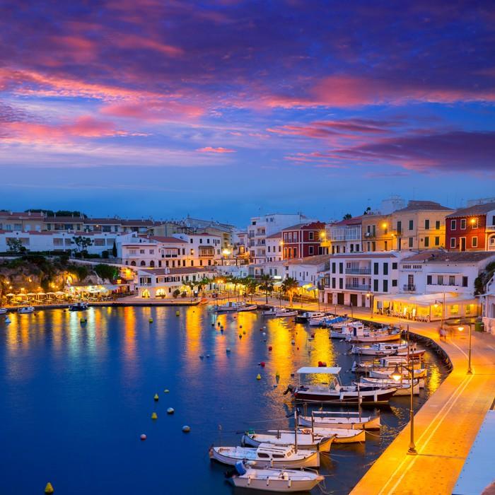 Vinylová Tapeta Calasfonts Cales Písma Port západ slunce ve městě Mahon na Baleárských ostrovech - Evropa
