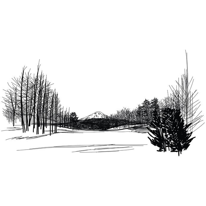 Vinylová Tapeta Hora Fuji Japonsko Hand Drawn - Umění a tvorba