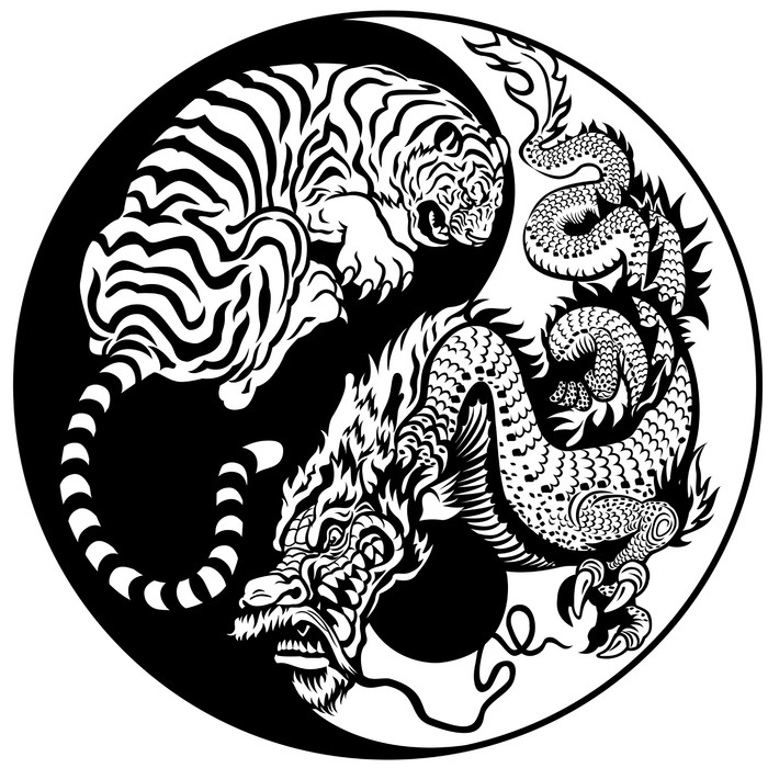 Dragon And Tiger Yin Yang Symbol Sticker Pixers We Live To Change