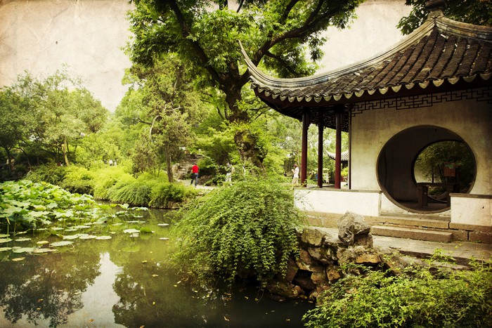 Chinese traditional garden suzhou china wall mural for Chinese wall mural