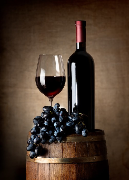 Fotobehang Rode Wijn Met Vat En Druiven Pixers 174 We