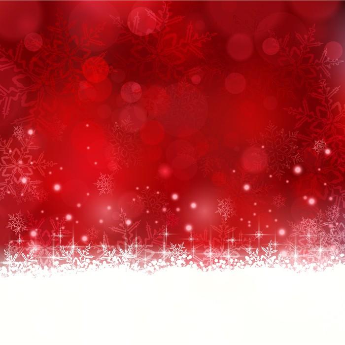 Cuadro En Lienzo Fondo Rojo De Navidad Con Copos De Nieve