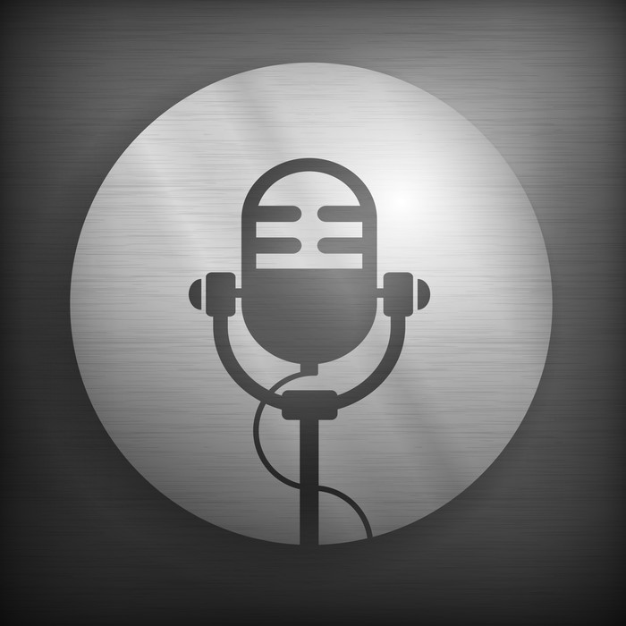 Fototapete Retro Mikrofon-Symbol in grau und schwarz, Vektor ...