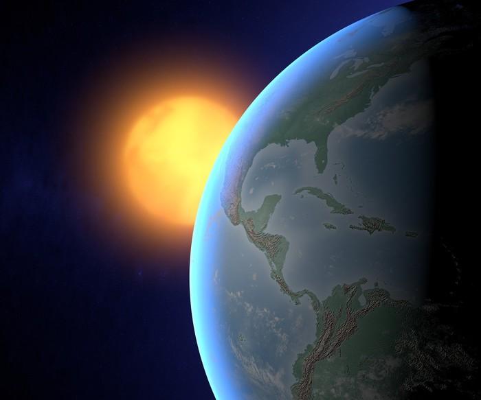 Vinylová fototapeta Svět glóbus sun americká kosmická družice - Vinylová fototapeta