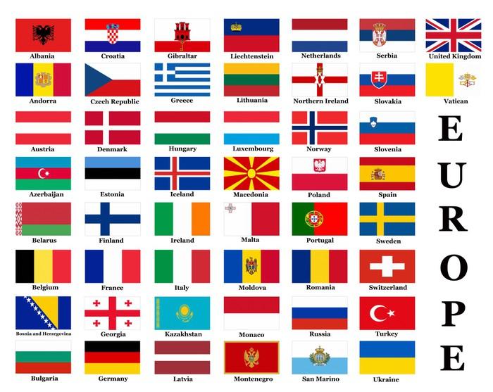 Naklejka Flagi Państw Europejskich • Pixers® • Żyjemy By