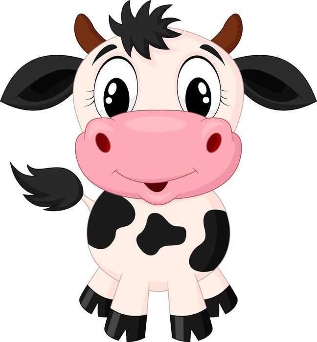 Vinilo para pared de dibujos animados lindo de la vaca - Dibujos de vinilo para paredes ...