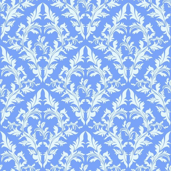 Light Blue Seamless Damask Wallpaper Poster
