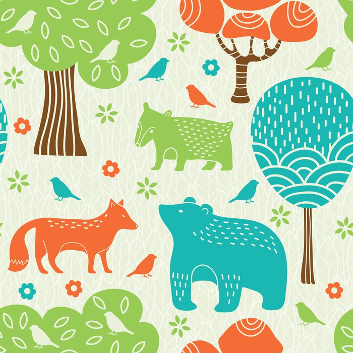 Carta da Parati in Vinile Animali della foresta seamless pattern - Stili