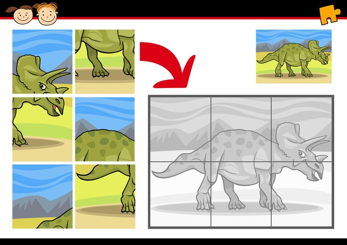 Vinylová Tapeta Cartoon dinosaur puzzle hra, - Vzdělávání