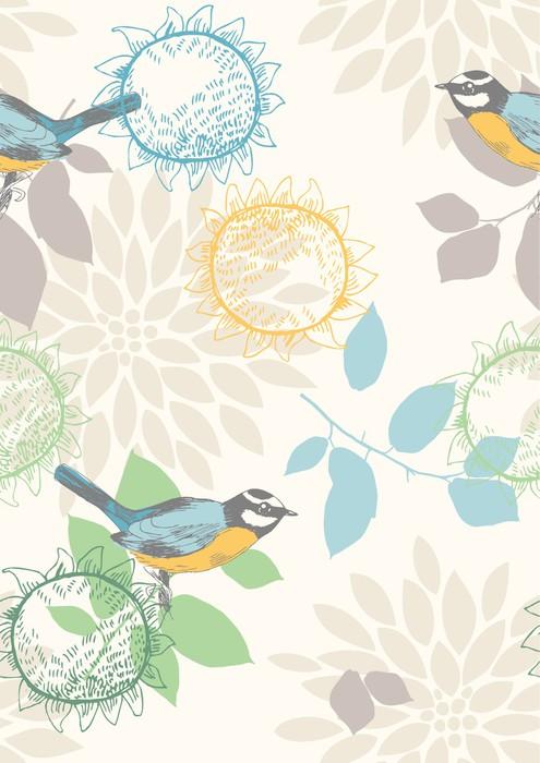 Vinylová Tapeta Bezešvé vzor s modrými titmouses a květiny - Pozadí