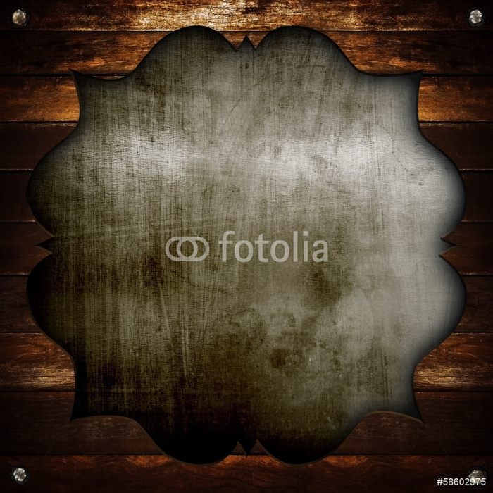 Fotomural Vieja placa de metal con marco de madera • Pixers ...