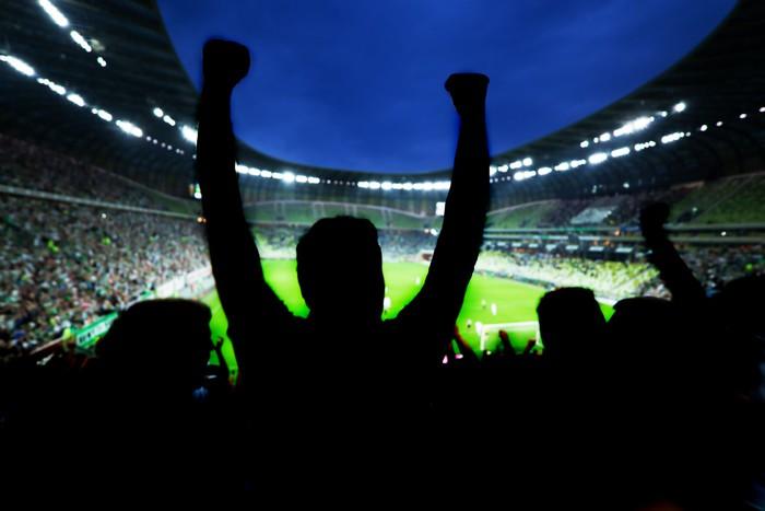 Vinylová Tapeta Fotbal, fotbalové fanoušky podpořit svůj tým a oslavovat - Týmové sporty