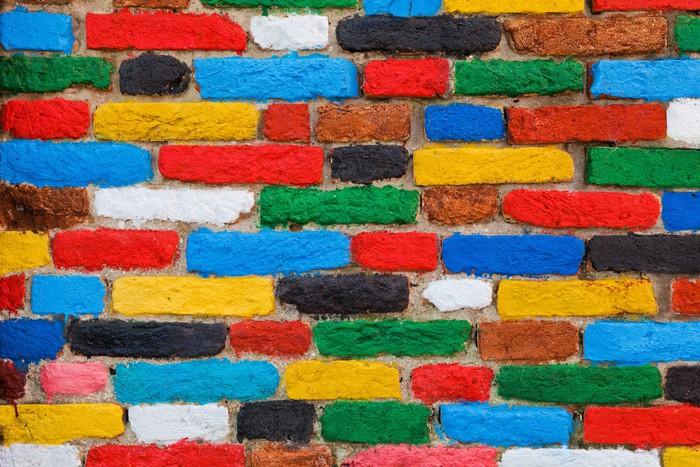 Plakát Barevné cihlová zeď. Unikátní pozadí - Evropská města