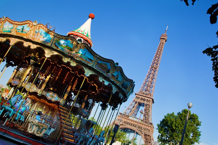 Eiffel tower and vintage carousel paris france wall for Carousel wall mural
