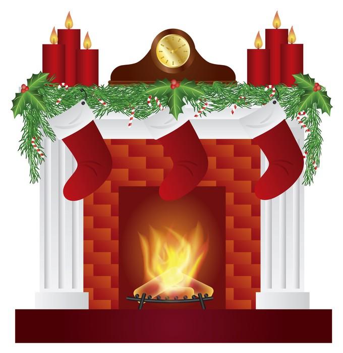 Adesivo camino con illustrazione decorazione natalizia for Decorazione camino